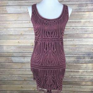 Staring At Stars Mauve Pink Crochet Lace Dress